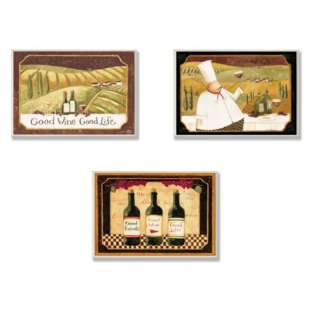 The Stupell Home Decor Collection Good Friends Wine And Life Kitchen Wall Plaque - Set of (Friends 3 Piece Wall Decor)