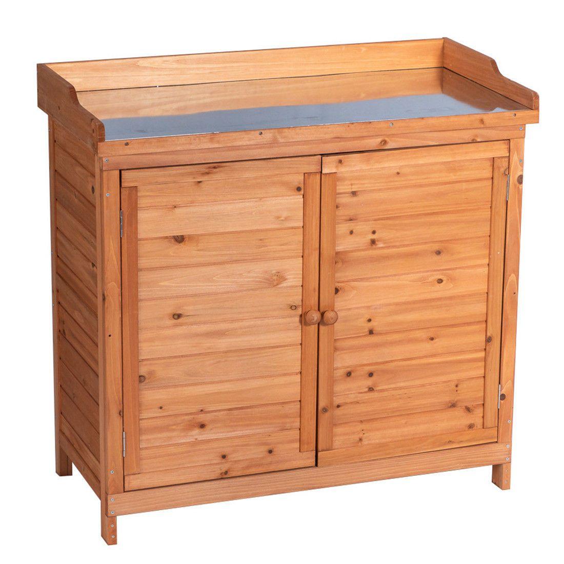 Outdoor Garden Wood Storage Furniture Box Waterproof Tool Shed w/ Potting Bench