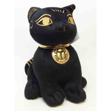 EGYPTIAN SUPER CUTE PLUSH DOLL BASTET CAT UBASTI BLACK AND GOLD