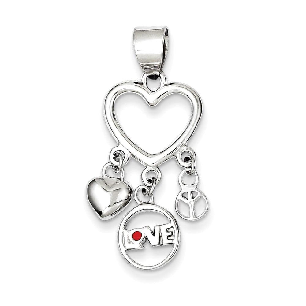 Sterling Silver Enamel Heart w/ Heart,Love,Peace Pendant