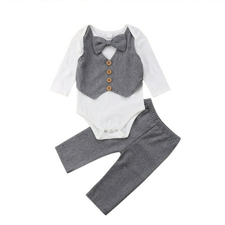 Infant Baby Boy Gentleman Outfits Long Sleeve Bowtie Romper+Pant Clothing (Infant Baby Boys Long Sleeved)