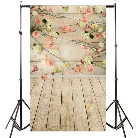 3x5FT Rose Flower Valentine's Day Wooden Floor Flower Vinyl Backdrops Christmas Photography Studio Props Background](Wooden Roses Usa)