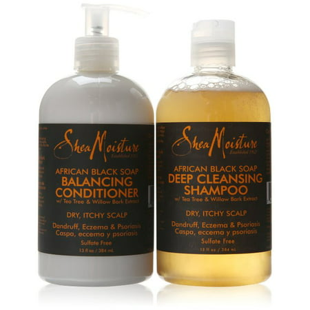 Shea Moisture African Black Soap Deep Cleansing Shampoo and Balancing Conditioner Combination Pack - For Dry, Itchy Scalp. Dandtruff, Eczema & Psoriasis.  13 Fl (Best Shampoo And Conditioner For Oily Scalp)