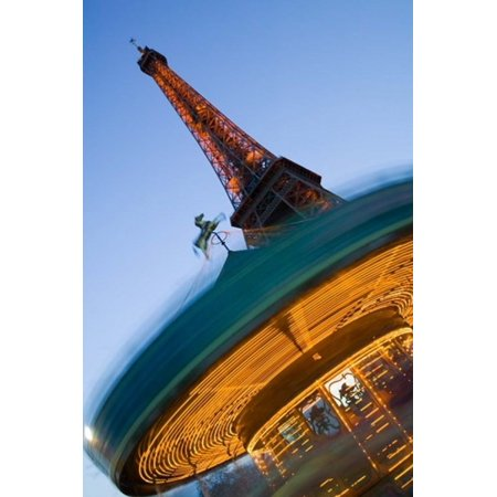 Winter View of the Eiffel Tower and Carousel Poster Print by Walter Bibikow