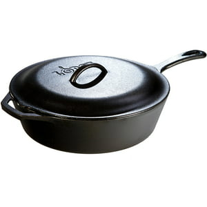 "Lodge 5 Quart, 12""-diameter, Deep Skillet ""Chicken Fryer"" L10CF3, with Cast Iron Cover"
