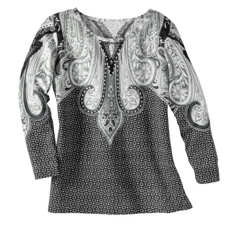 58034bee9 Collections Etc - Women's Paisley Sequin Scoop Neck Top, Medium, Black/White  - Walmart.com