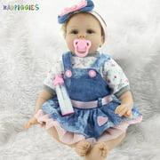 "BadPiggies 22"" 55cm Real Life Reborn Baby Dolls Toy Soft Silicone Realistic Newborn Dolls Girl Xmas Gift for Ages 3+"