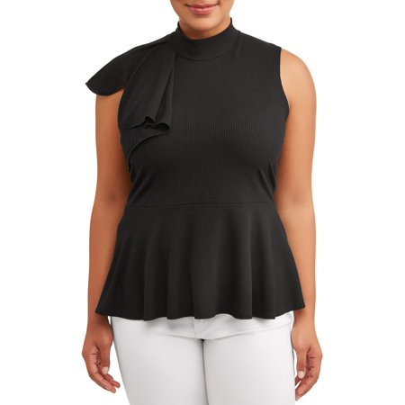 Ruffle Front Knit Shirt (Women's Plus Size Ruffle Side Rib Knit Top)
