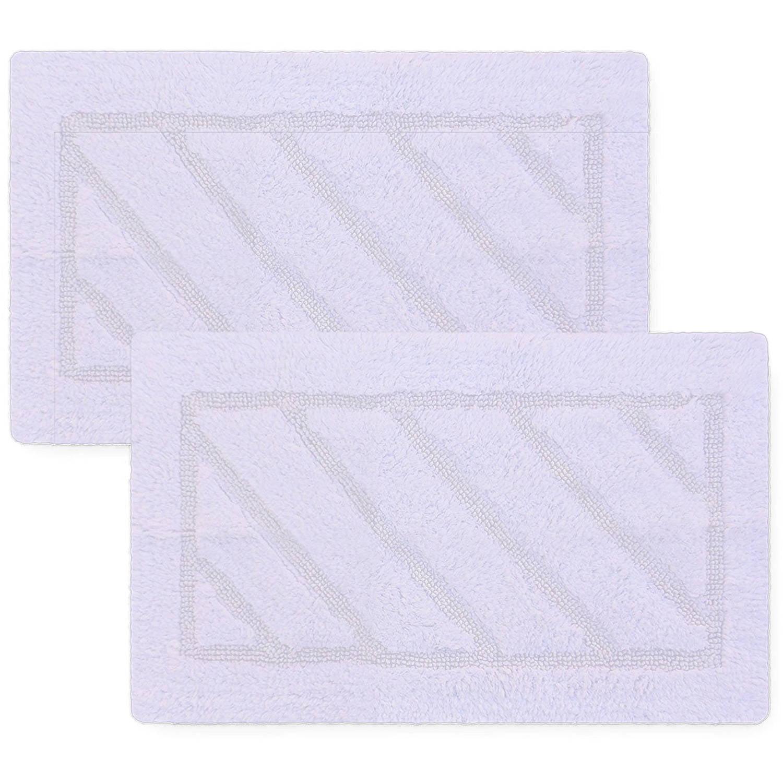 "Berrnour Natural Cotton 2-Piece Bath Rug Set, Super-Soft, Heavyweight, Hand-Tufted, Washable, 17"" x 24"""