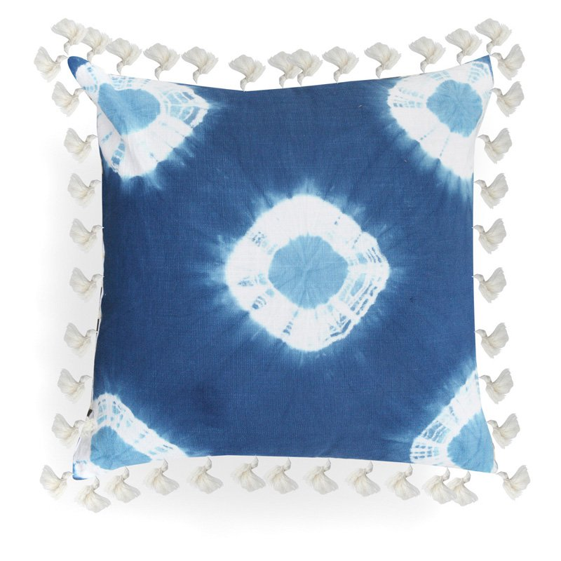 Image of A1 Home Collections Anthea Blue Tie and Die Pillow