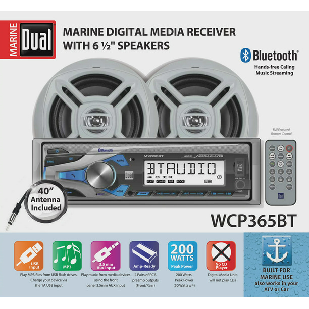 Dual Electronics WCP365BT Marine Stereo LCD Single DIN with Built-In Bluetooth, USB Port, Two 6.5 inch Dual Cone Marine Speakers & Long Range Marine Antenna