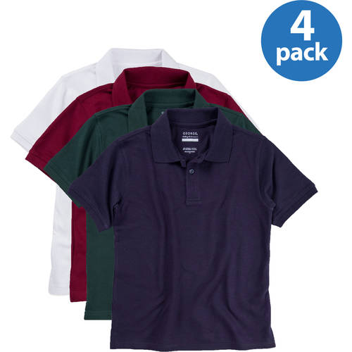 George Boys School Uniforms Approved Short Sleeve Pique Polo Shirts, 4-Pack Value Bundle