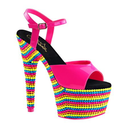 3b5123dc5 SummitFashions - Womens Hot Pink Shoes Platform Sandals Blacklight Reactive  Stones 7 Inch Heels - Walmart.com