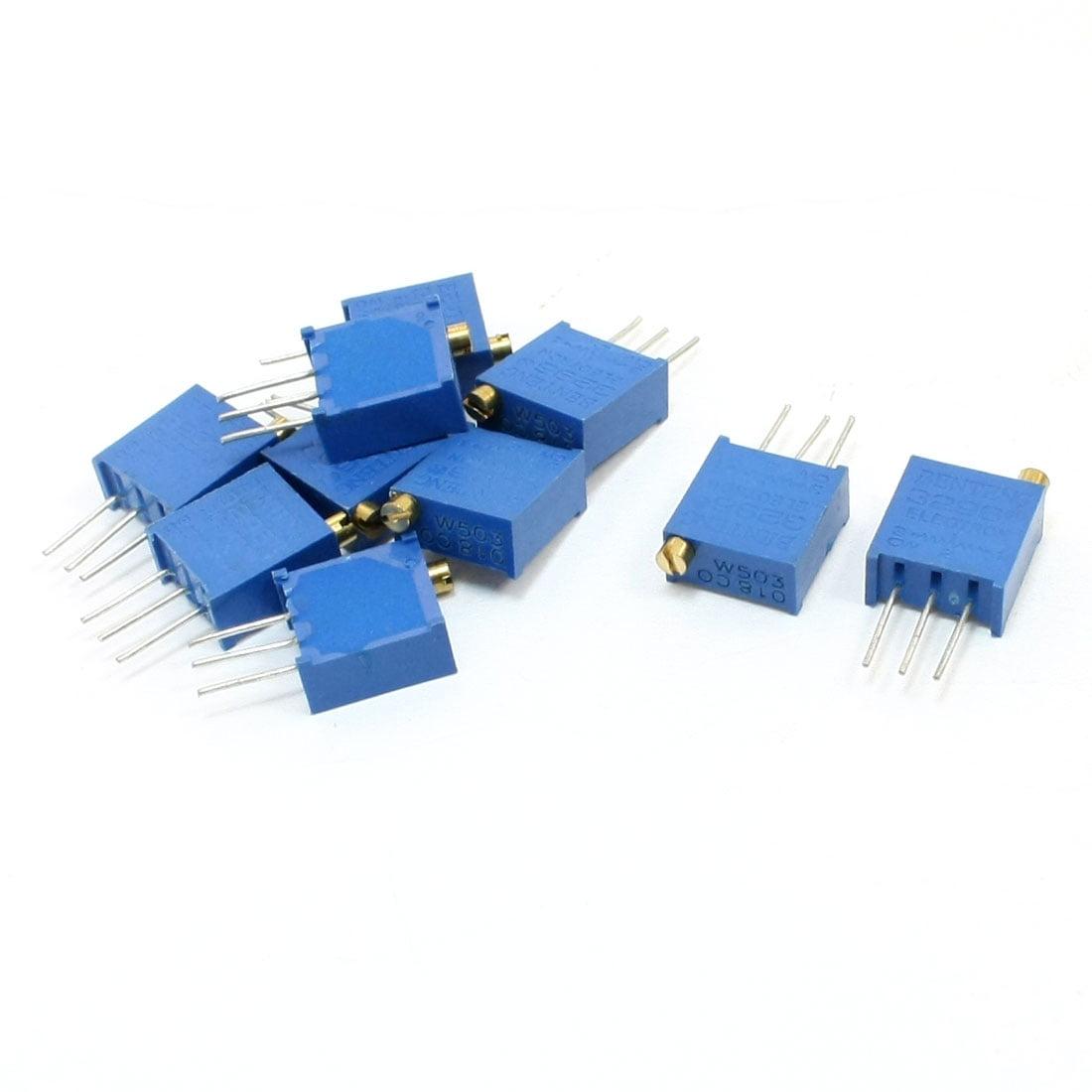 10Pcs 50K Ohm Adjustable Cermet Multiturn Potentiometer for Trimmer