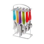 Gibson Home 20-Piece Harmonica Rainbow Flatware Set with Hanging Rack