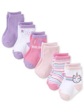 The Children's Place 'Unicorn Love' Graphic Socks, 6-Pack (Baby Girls)