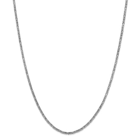 """14K White Gold 2mm Byzantine Necklace Chain -24"""" (24in x 2mm)"""