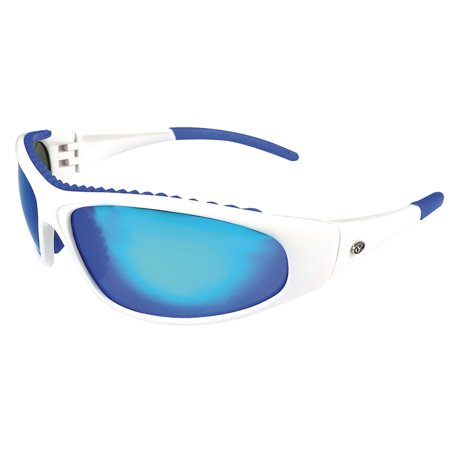 41483 Wahoo Polarized Sunglasses with Blue Mirror Lenses & White Frame