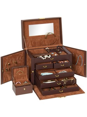 3103e44e9 Leather Jewelry Box Organizer Storage With Mini Travel Case (Brown)