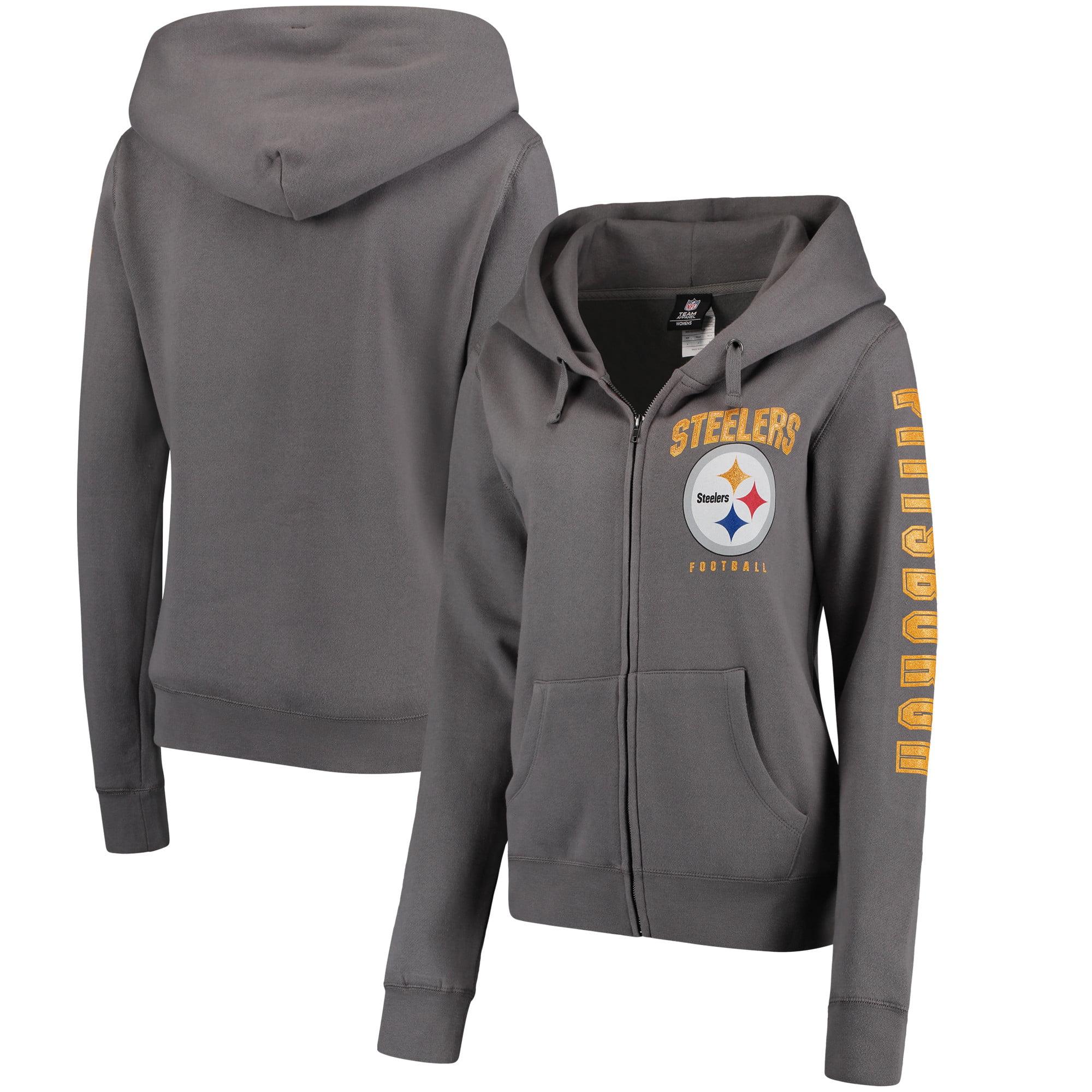 huge selection of 6b28b 62f90 Pittsburgh Steelers New Era Women's Playbook Glitter Sleeve Full-Zip Hoodie  - Gray