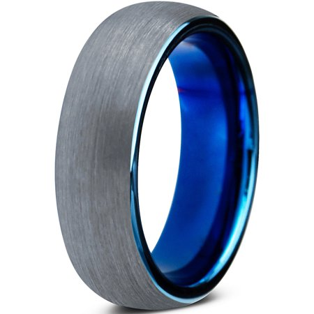 Tungsten Wedding Band Ring 6mm For Men Women Comfort Fit Blue Round Domed Brushed Lifetime