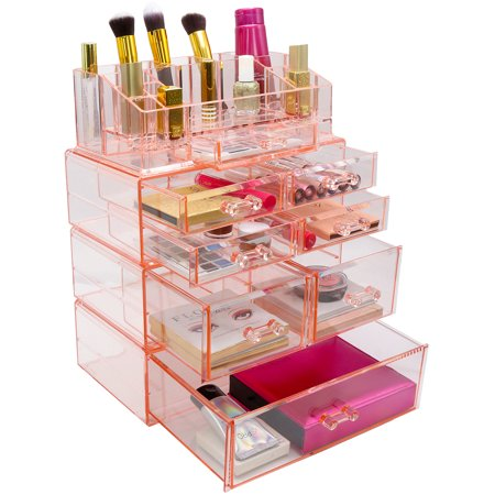 Sorbus Acrylic Cosmetics Makeup and Jewelry Storage Case Display Sets – Interlocking Drawers to Create Your Own Specially Designed Makeup Counter – Stackable and Interchangeable (Pink)