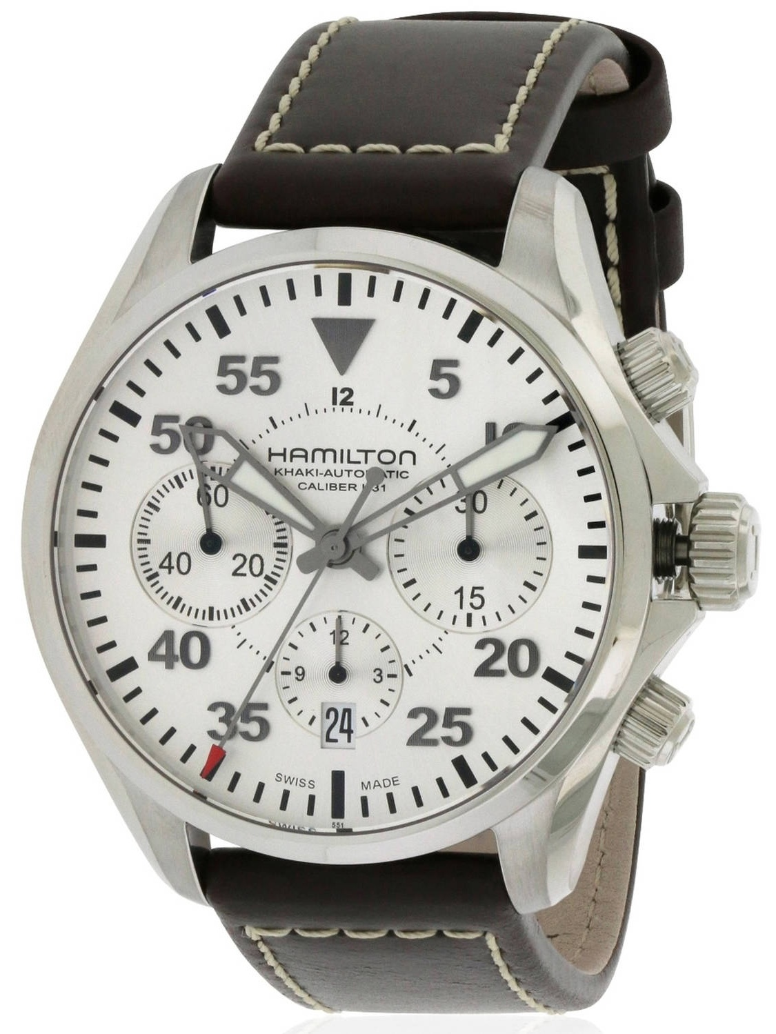 Hamilton Khaki Pilot Automatic Chronograph Leather Men's Watch, H64666555 by Hamilton