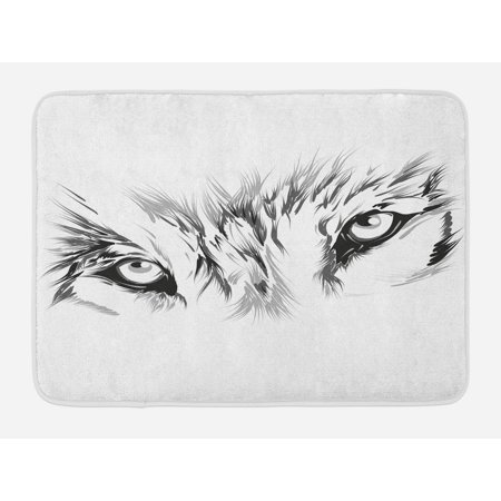 Animals With Tattoos (Tattoo Bath Mat, Winter Time Animal White Wolf with its Eyes Looking Straight and Fierce Art, Non-Slip Plush Mat Bathroom Kitchen Laundry Room Decor, 29.5 X 17.5 Inches, White and)