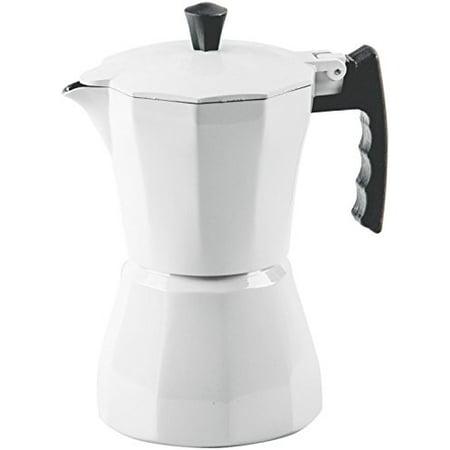 Palais Dinnerware Stovetop Espresso Maker - Aluminum Coffee Maker Moka Pot (White, 3 Demitasse Cups)