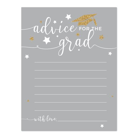 Gray and Gold Glittering Graduation, Advice for the Grad Cards, 20-Pack, Games Activities and - Graduation Party Activities