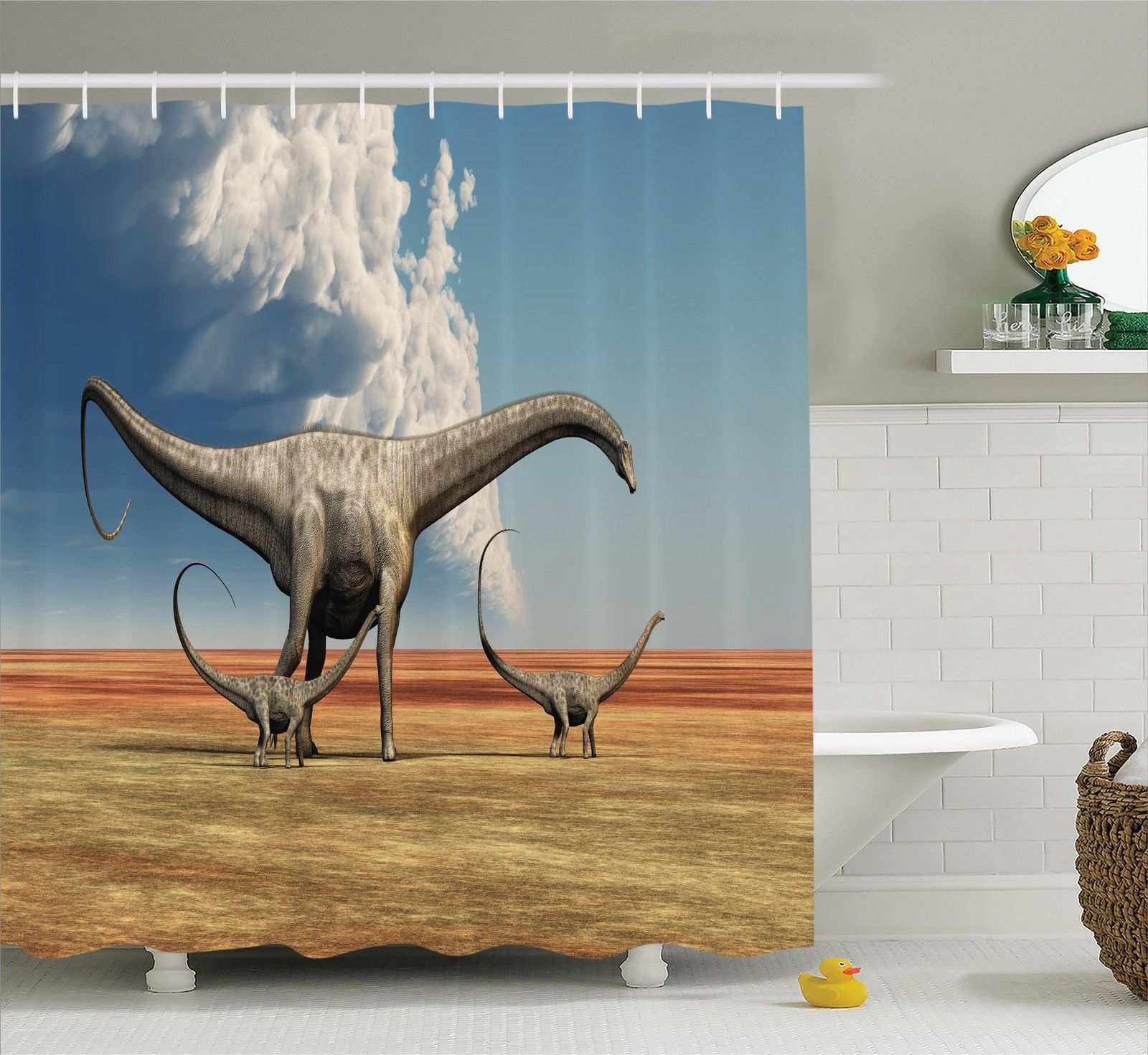 Jurassic Decor Shower Curtain Set, Mother Diplodocus Dinosaur Walks Along With Her Brood Of Youngsters Clouds, Bathroom Accessories, 69W X 70L Inches, By Ambesonne