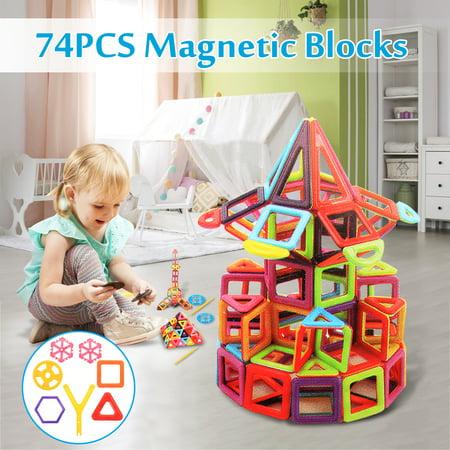 Building Block Toys (54/74Piece Magnetic Tiles Magnetic Building Blocks Toys Set - Educational Tiles Block Toy Kit for Kids Educational Toy Set ,Multi)
