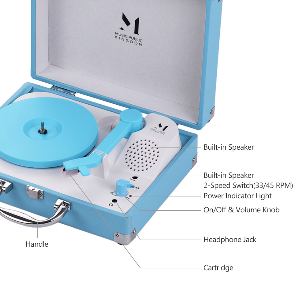 Best Portable Suitcase Record Player Bluetooth Vinyl Record Player Suitcase Aqua