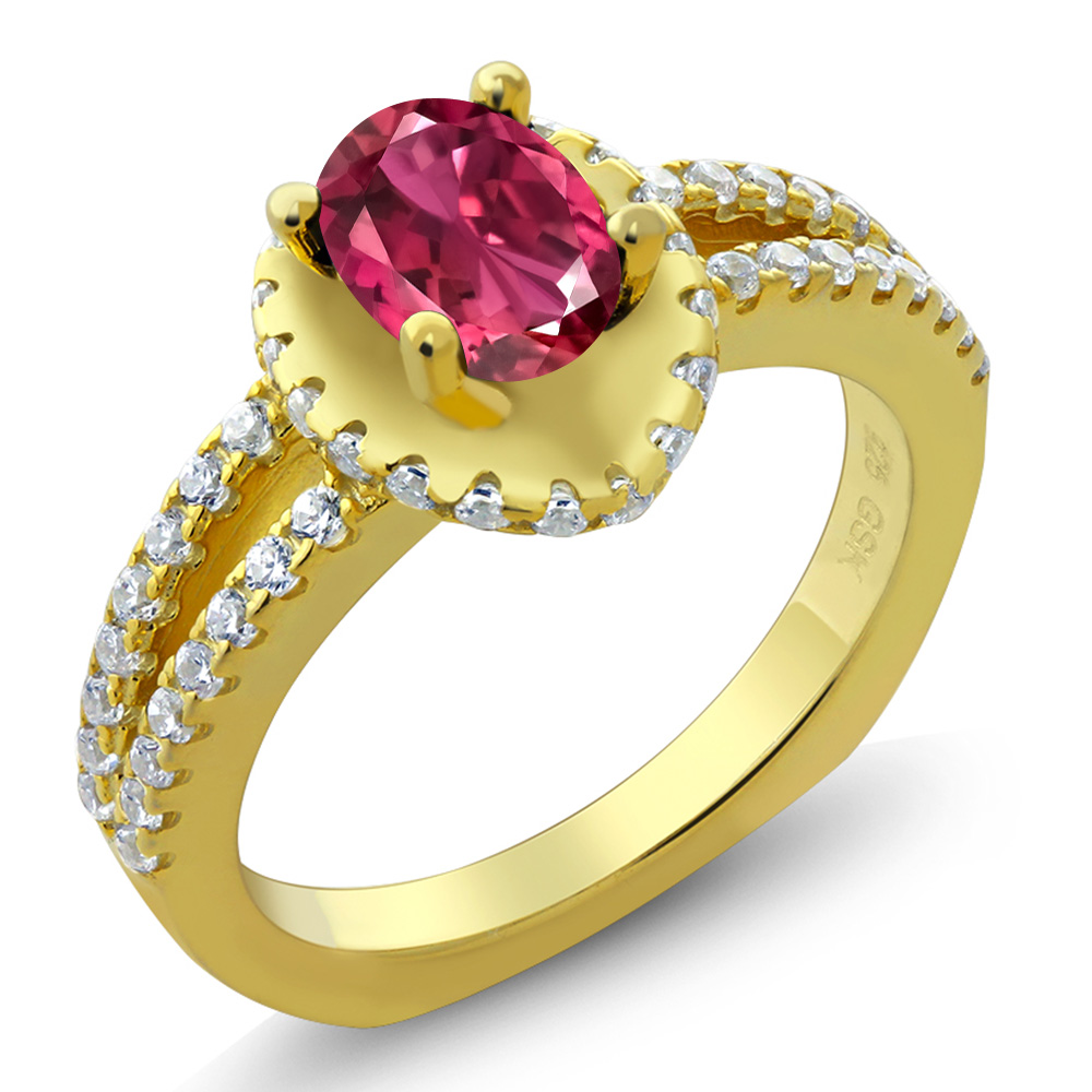1.36 Ct Oval Pink Tourmaline 14K Yellow Gold Ring by