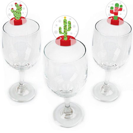 Merry Cactus - Shaped Christmas Cactus Party Wine Glass Markers - Set of