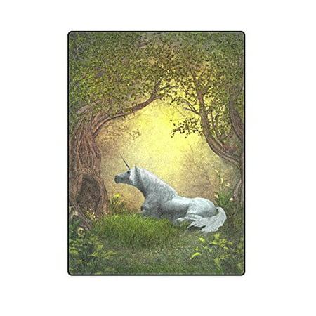 CADecor Woodland Unicorn Throw Blanket Bed Sofa Blanket 58x80 inches ()