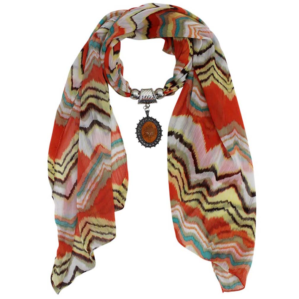 Luxury Divas Striped Jewelry Scarf With Medallion