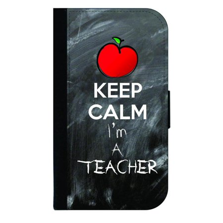Apple 4 The Teacher Halloween (Keep Calm I'm a Teacher - Wallet Style Cell Phone Case with 2 Card Slots and a Flip Cover Compatible with the Apple iPhone 4 and 4s)