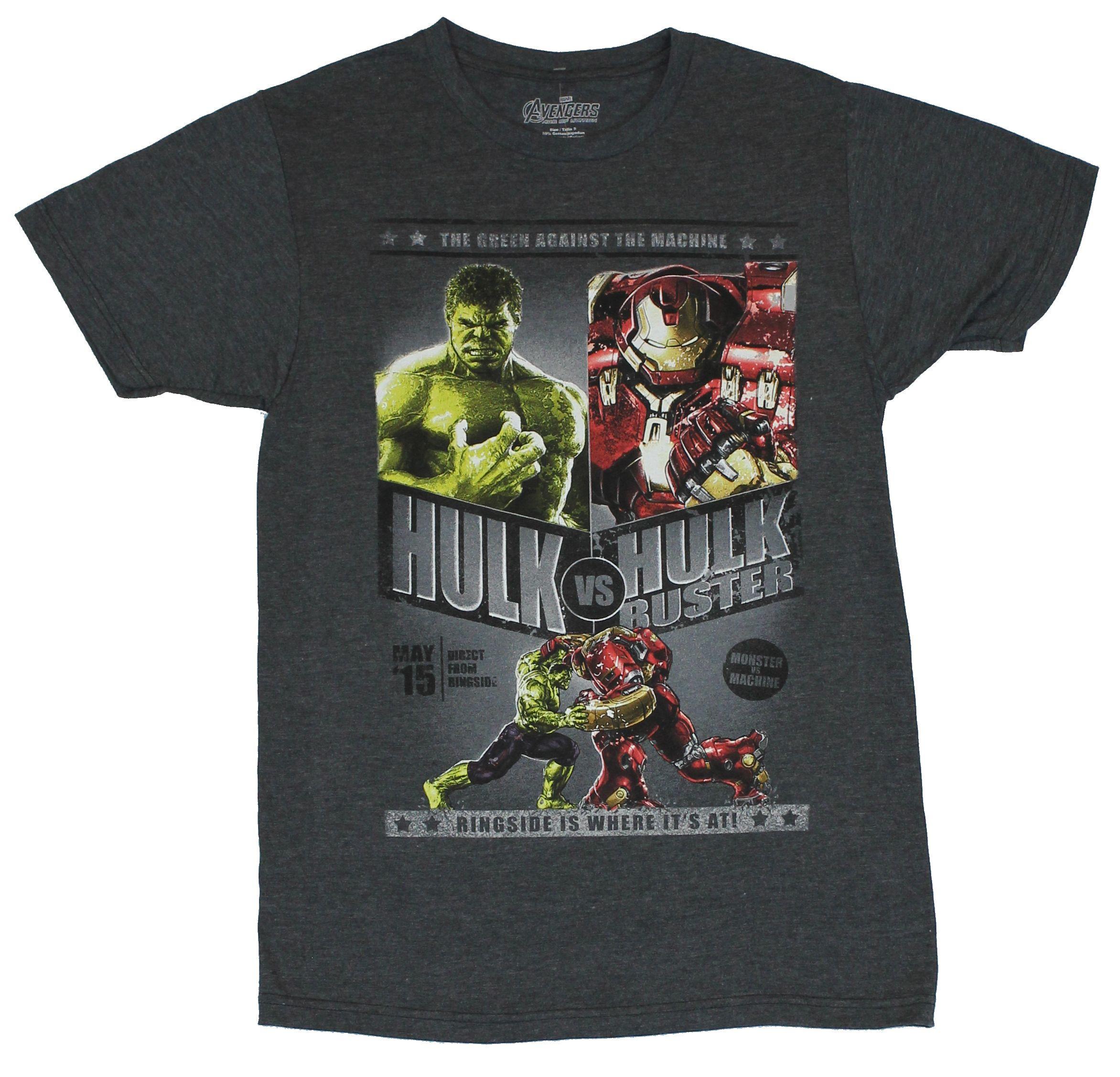 The Avengers Ultron Mens T-Shirt -  Hulk Vs Iron Man Hulkbuster Poster Image