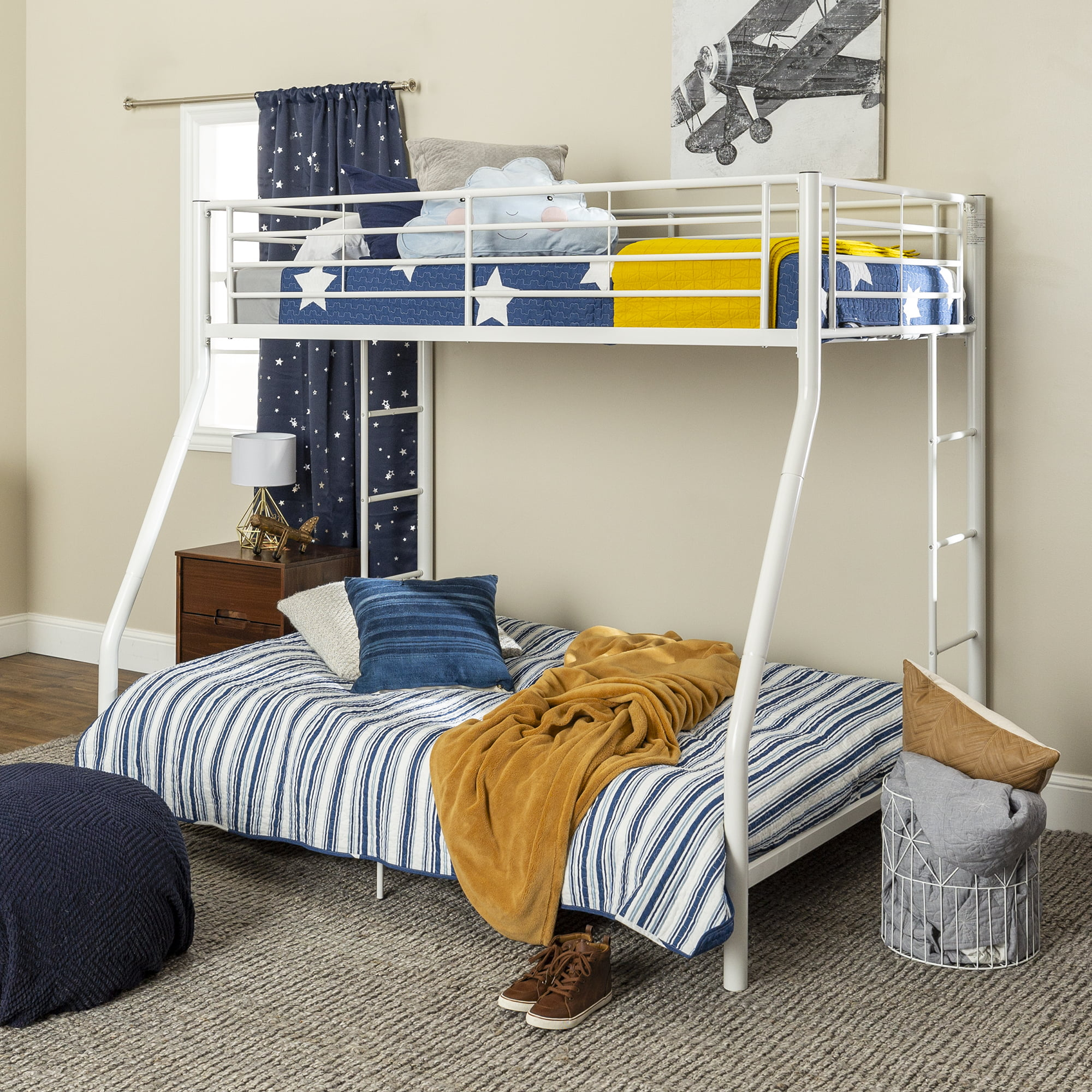 Picture of: Walker Edison Premium Twin Over Full Metal Bunk Bed White Walmart Com Walmart Com