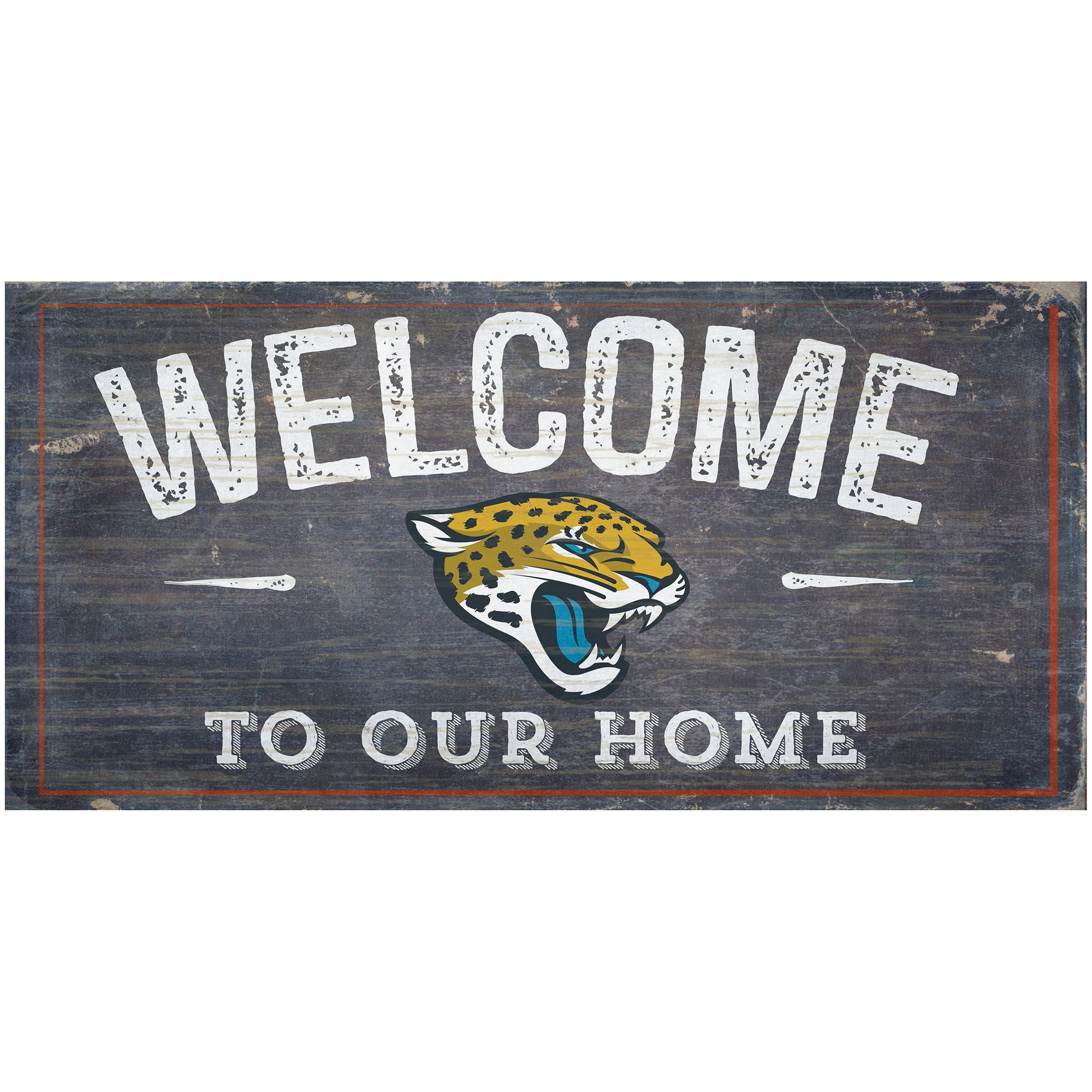 """Jacksonville Jaguars 6"""" x 12"""" Welcome To Our Home Sign - No Size"""