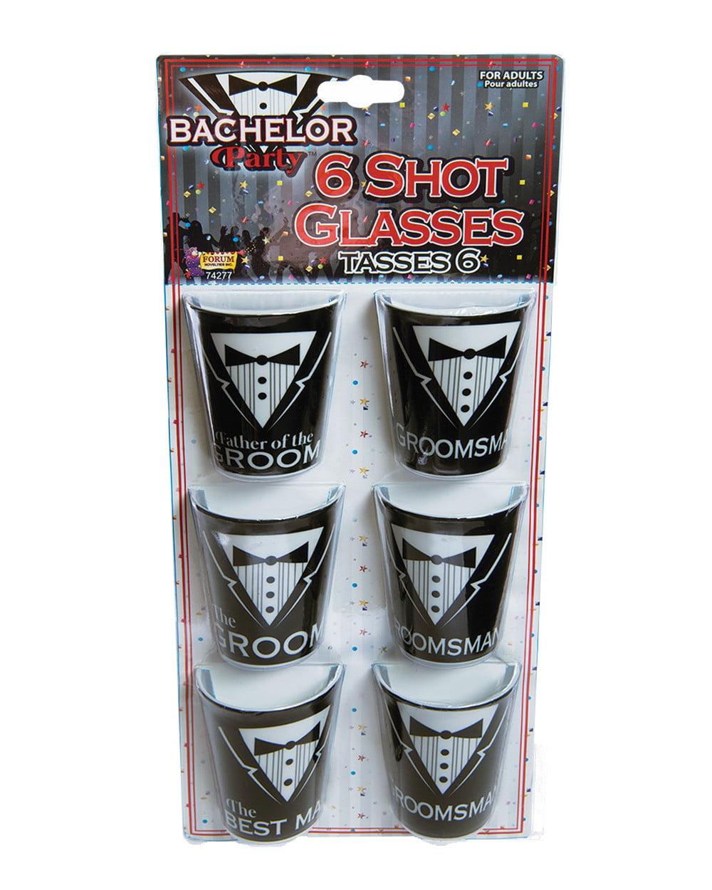 Adult's Mens Bachelor Party 6 Piece Novelty Shot Glass Set Costume Accessory by Forum Novelties