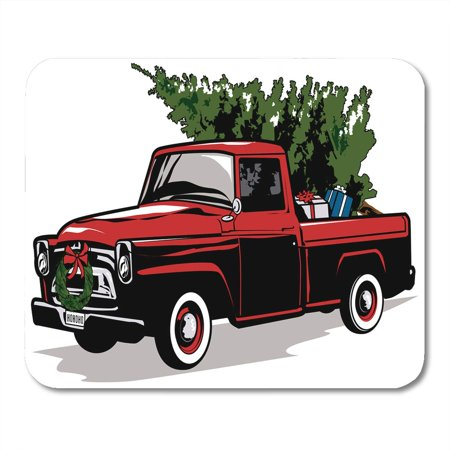 KDAGR Red Christmas Holiday Truck Tree Vintage Old Pickup 1950 Mousepad Mouse Pad Mouse Mat 9x10 inch