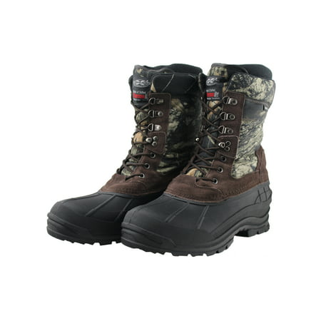 OwnShoe Mens Black Warm Leather Waterproof Insulated Snow Duck Boots