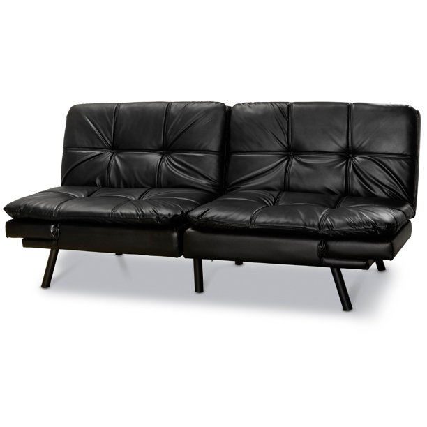 Mainstays Memory Foam Futon, Black Leather