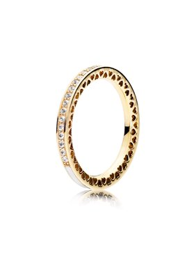 308427454 Product Image Pandora Ring Radiant Hearts of In 14K Gold w/Shimmering  Silver Enamel Ring sz 48