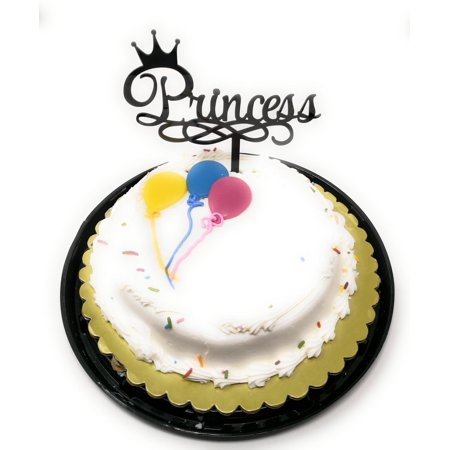 Princess Crown Birthday Cake Topper Acrylic Baby Shower, Gender Reveal Party Decoration, Favorite Topper for Cake Decorations TOP005 (Black)](Birthday Crown Party City)