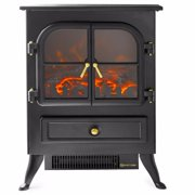 "16"" Electric Fireplace 1500W Free Standing Heater Glass Fire Flame, Wood Log"