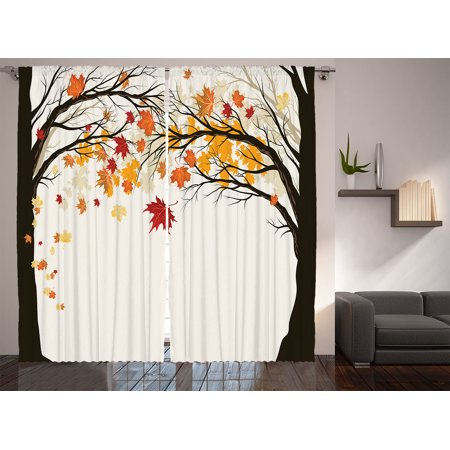 curtains for bedroom living room art nature fall trees