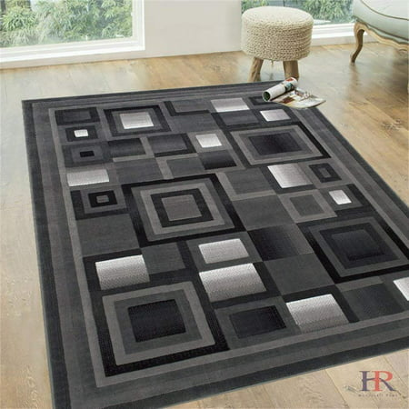 Handcraft Rugs Silver/Black and Gray Abstract Geometric Modern Squares Pattern Area Rug